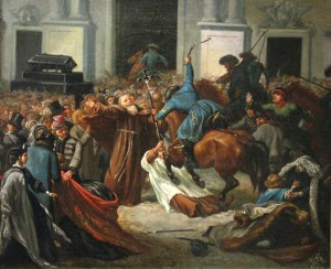 Warszawa_1861-02-1861 kozacy przed kościołem św Anny